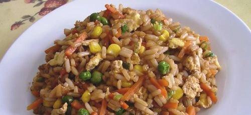 arroz integral frito tres delicias
