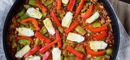 Paella con arroz integral